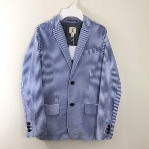 Land's End seersucker striped boy jacket M 10/12